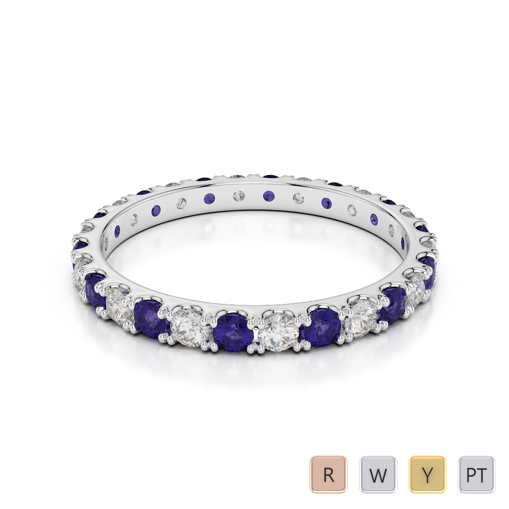 2 MM Gold / Platinum Round Cut Tanzanite and Diamond Full Eternity Ring AGDR-1120
