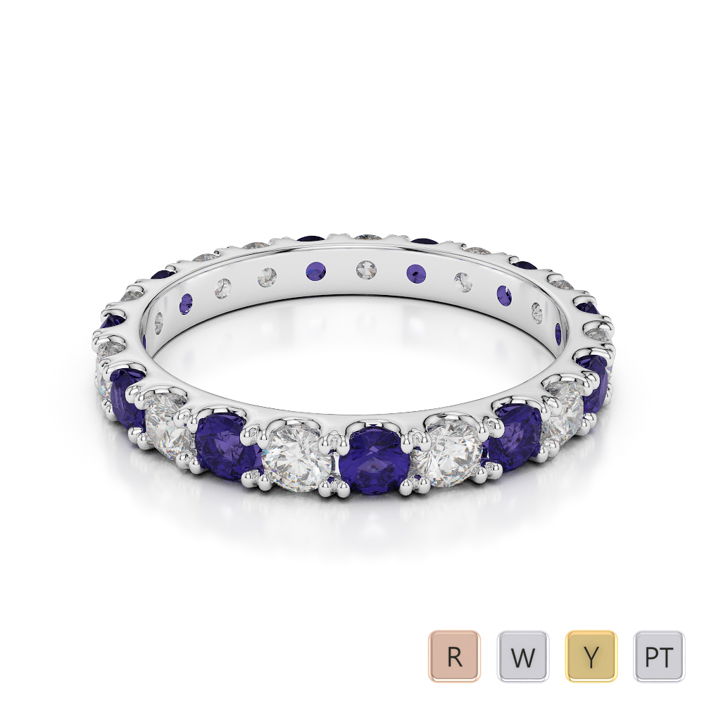 2.5 MM Gold / Platinum Round Cut Tanzanite and Diamond Full Eternity Ring AGDR-1121