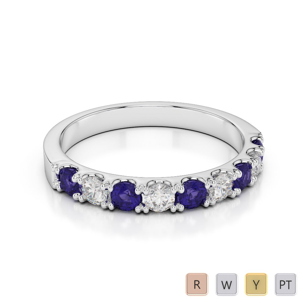 2.5 MM Gold / Platinum Round Cut Tanzanite and Diamond Half Eternity Ring AGDR-1124