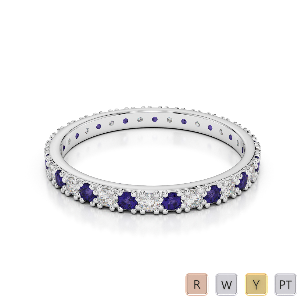 2 MM Gold / Platinum Round Cut Tanzanite and Diamond Full Eternity Ring AGDR-1126