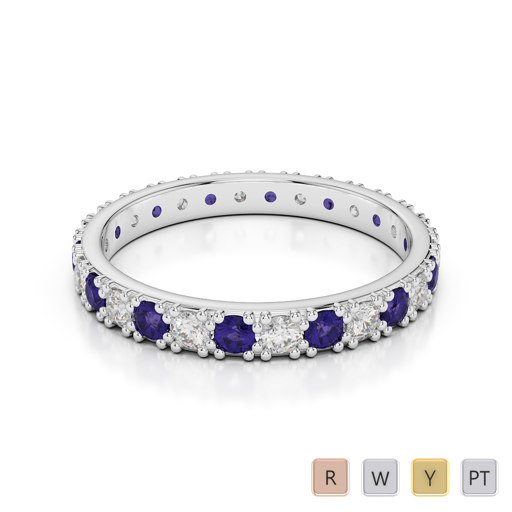 2.5 MM Gold / Platinum Round Cut Tanzanite and Diamond Full Eternity Ring AGDR-1127