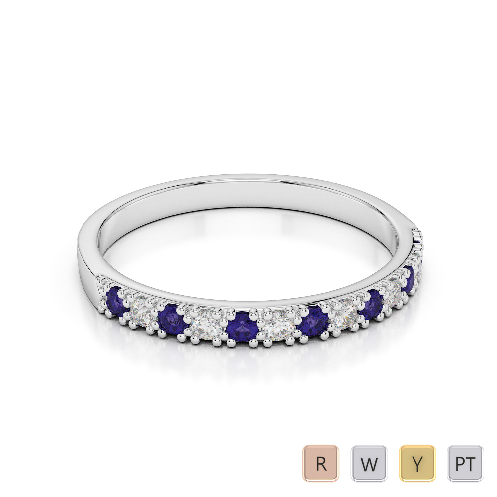 2.5 MM Gold / Platinum Round Cut Tanzanite and Diamond Half Eternity Ring AGDR-1129