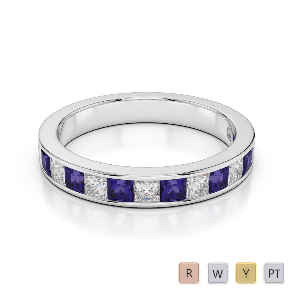 Gold / Platinum Princess Cut Tanzanite and Diamond Half Eternity Ring AGDR-1136
