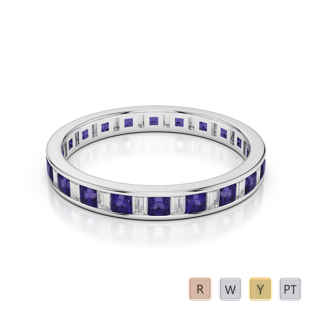 Gold / Platinum Princess and Baguette Cut Tanzanite and Diamond Full Eternity Ring AGDR-1140