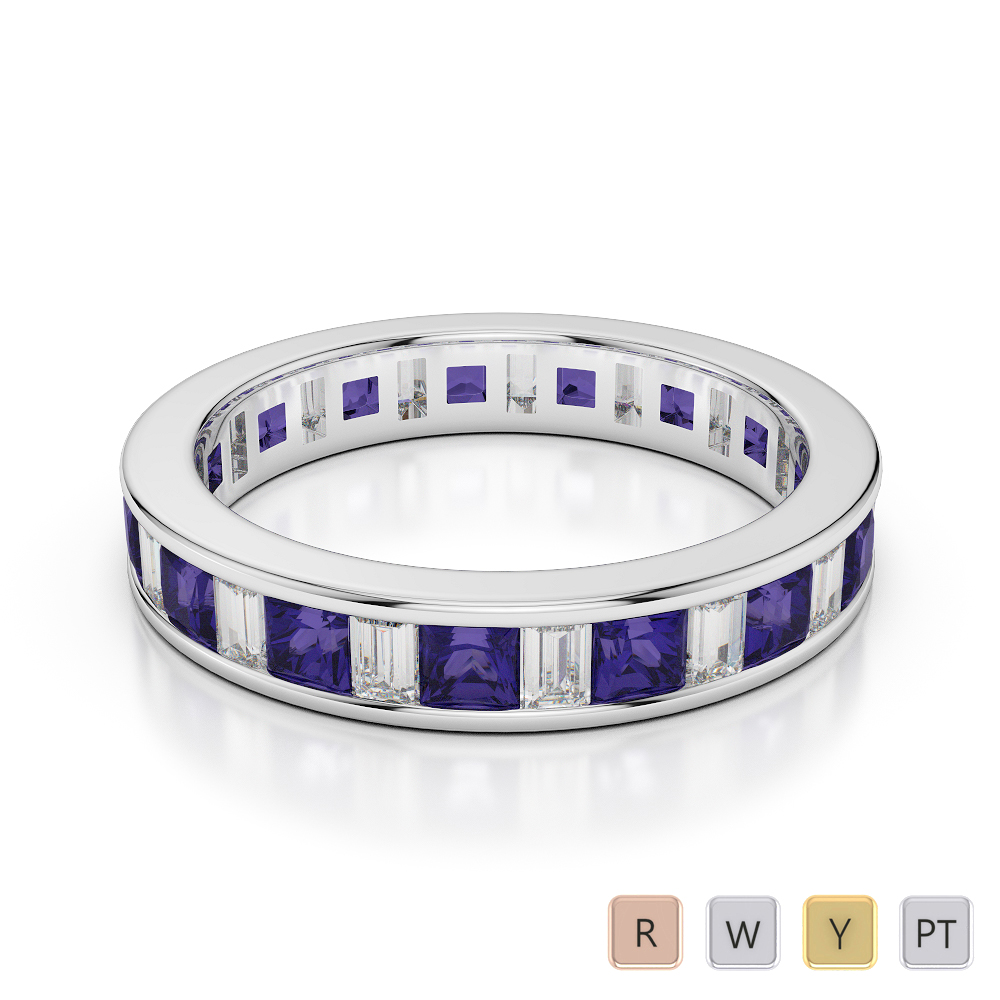 4 MM Gold / Platinum Princess and Baguette Cut Tanzanite and Diamond Full Eternity Ring AGDR-1141