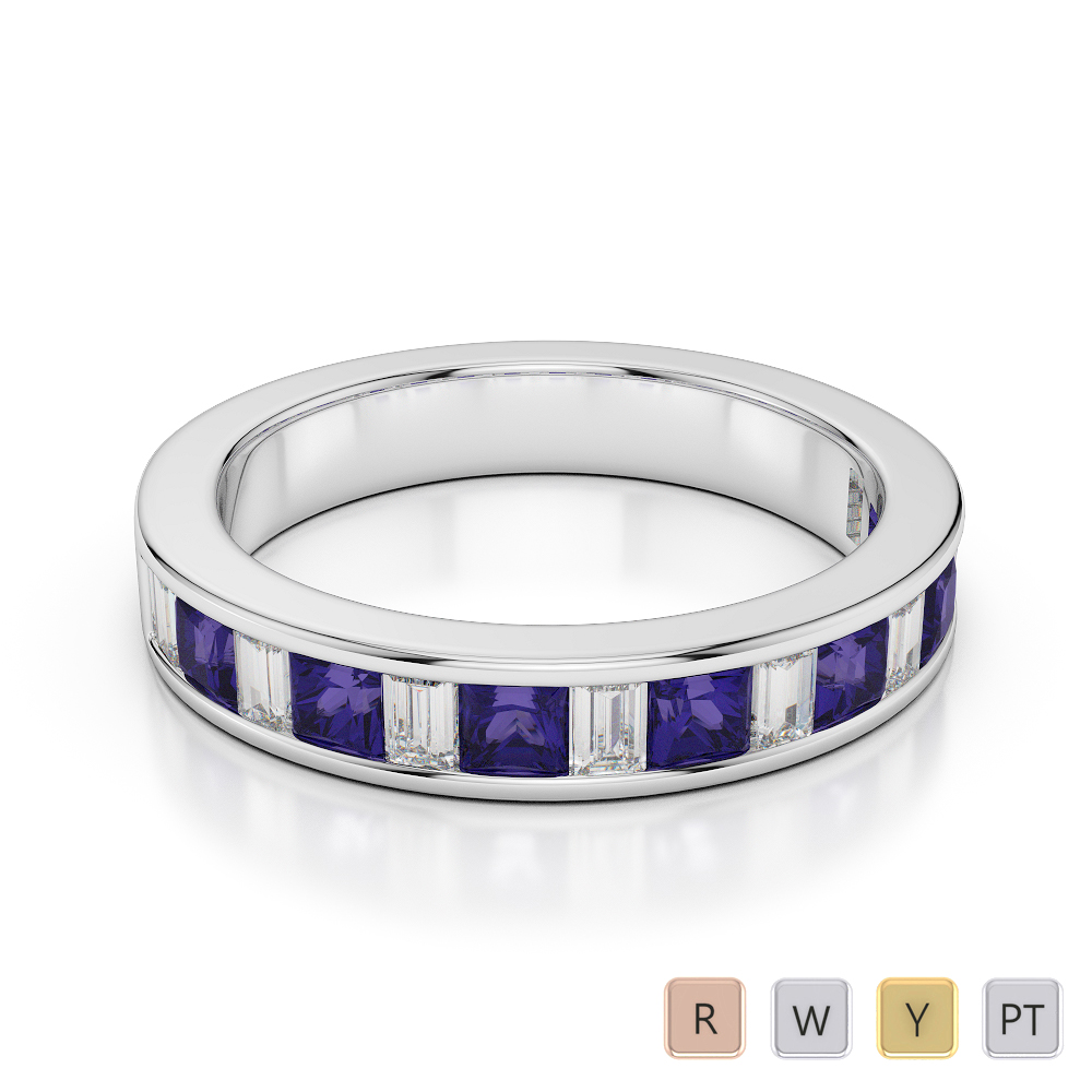 Gold / Platinum Princess and Baguette Cut Tanzanite and Diamond Half Eternity Ring AGDR-1143