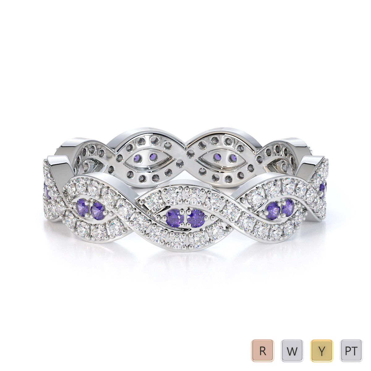 Gold / Platinum Tanzanite and Diamond Full Eternity Ring RZ1498