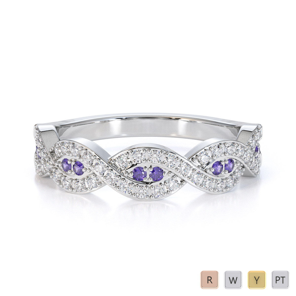 Gold / Platinum Tanzanite and Diamond Half Eternity Ring RZ1499