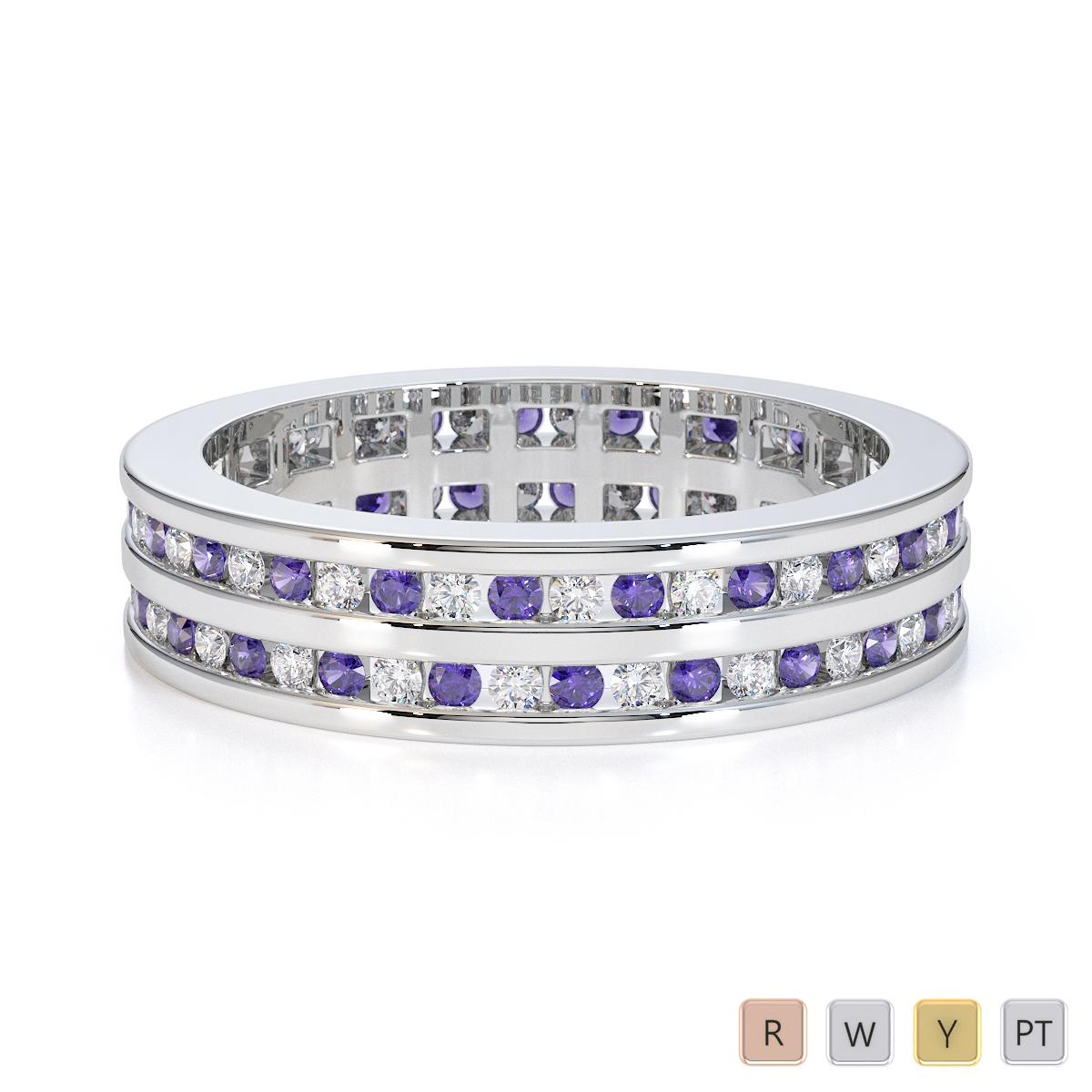 Gold / Platinum Tanzanite and Diamond Full Eternity Ring RZ1502