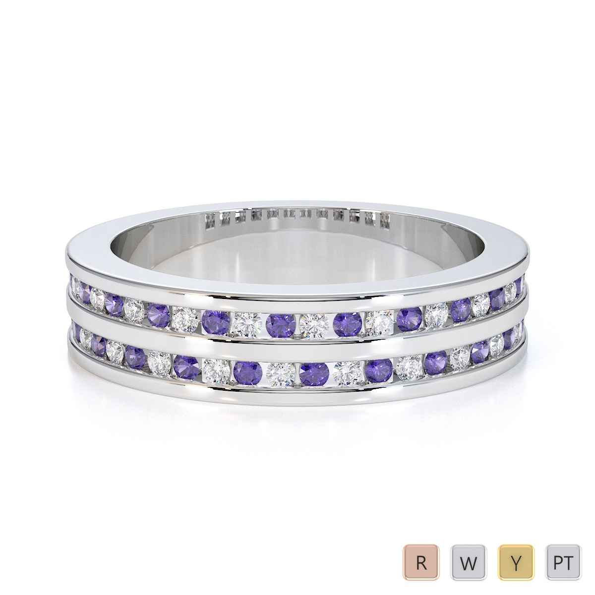 Gold / Platinum Tanzanite and Diamond Half Eternity Ring RZ1503