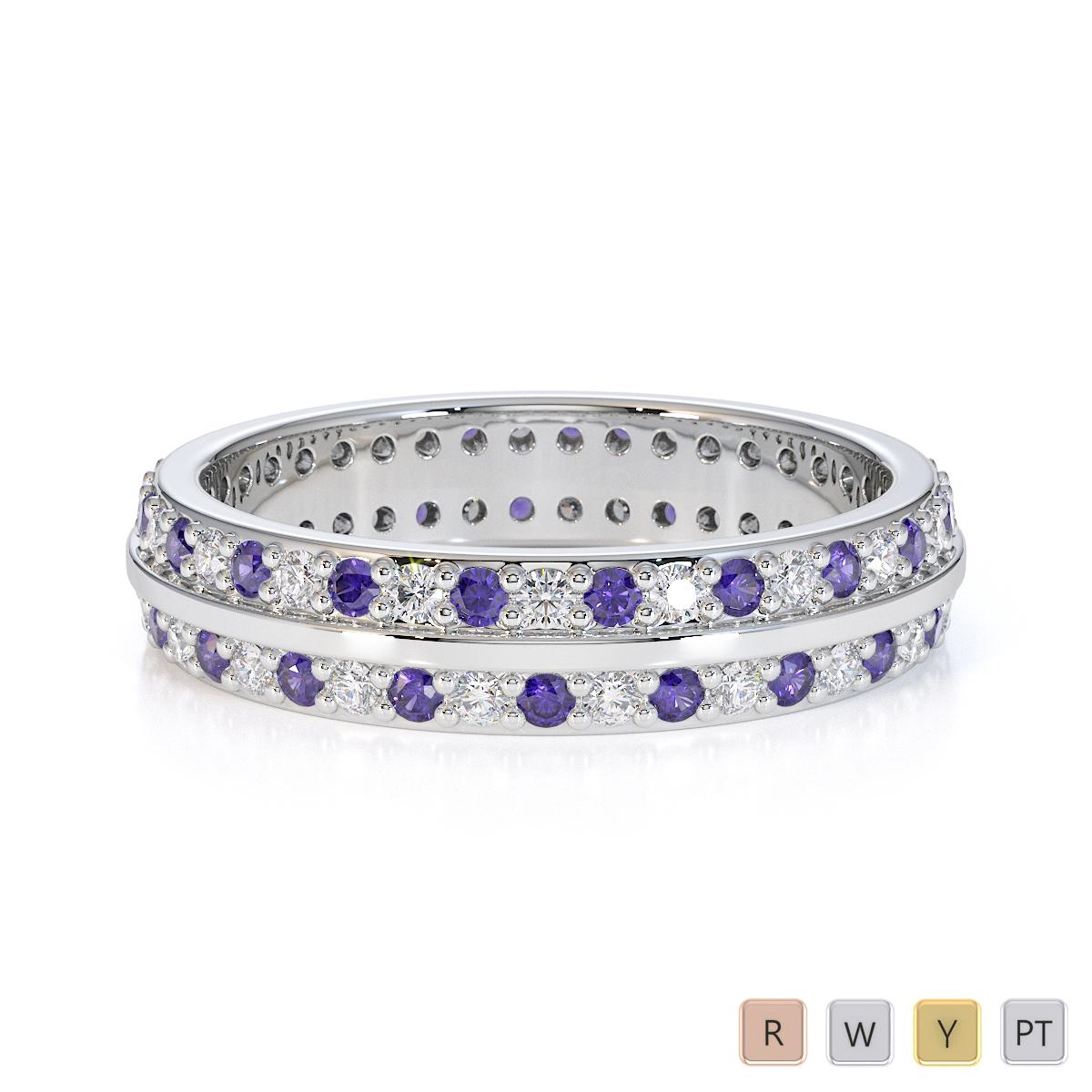 Gold / Platinum Tanzanite and Diamond Full Eternity Ring RZ1504