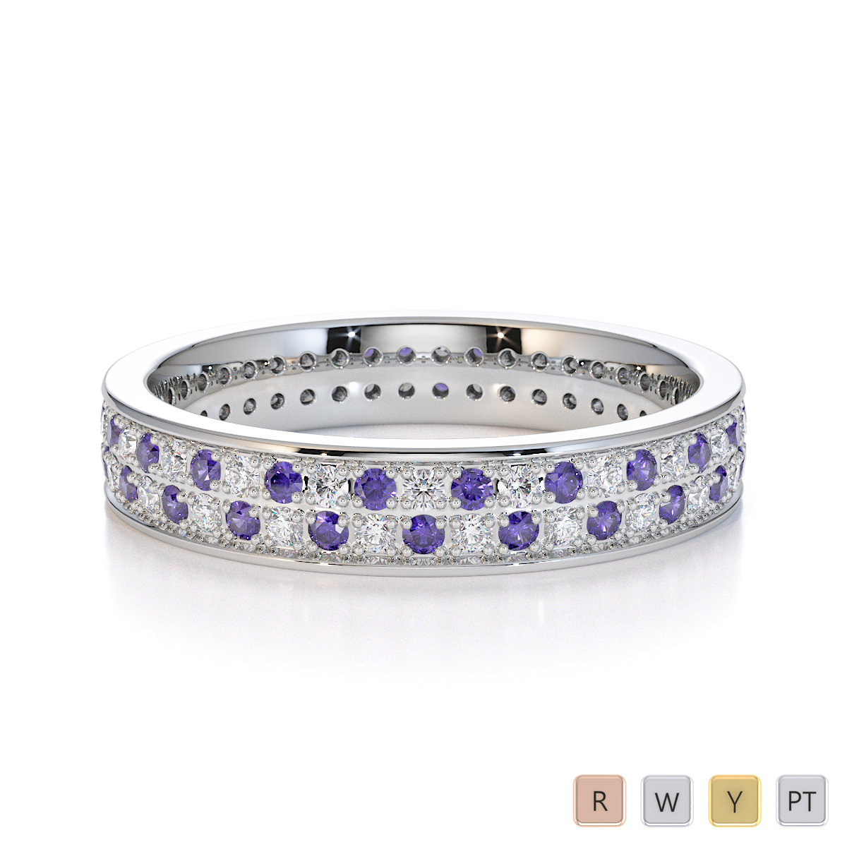 Gold / Platinum Tanzanite and Diamond Full Eternity Ring RZ1506