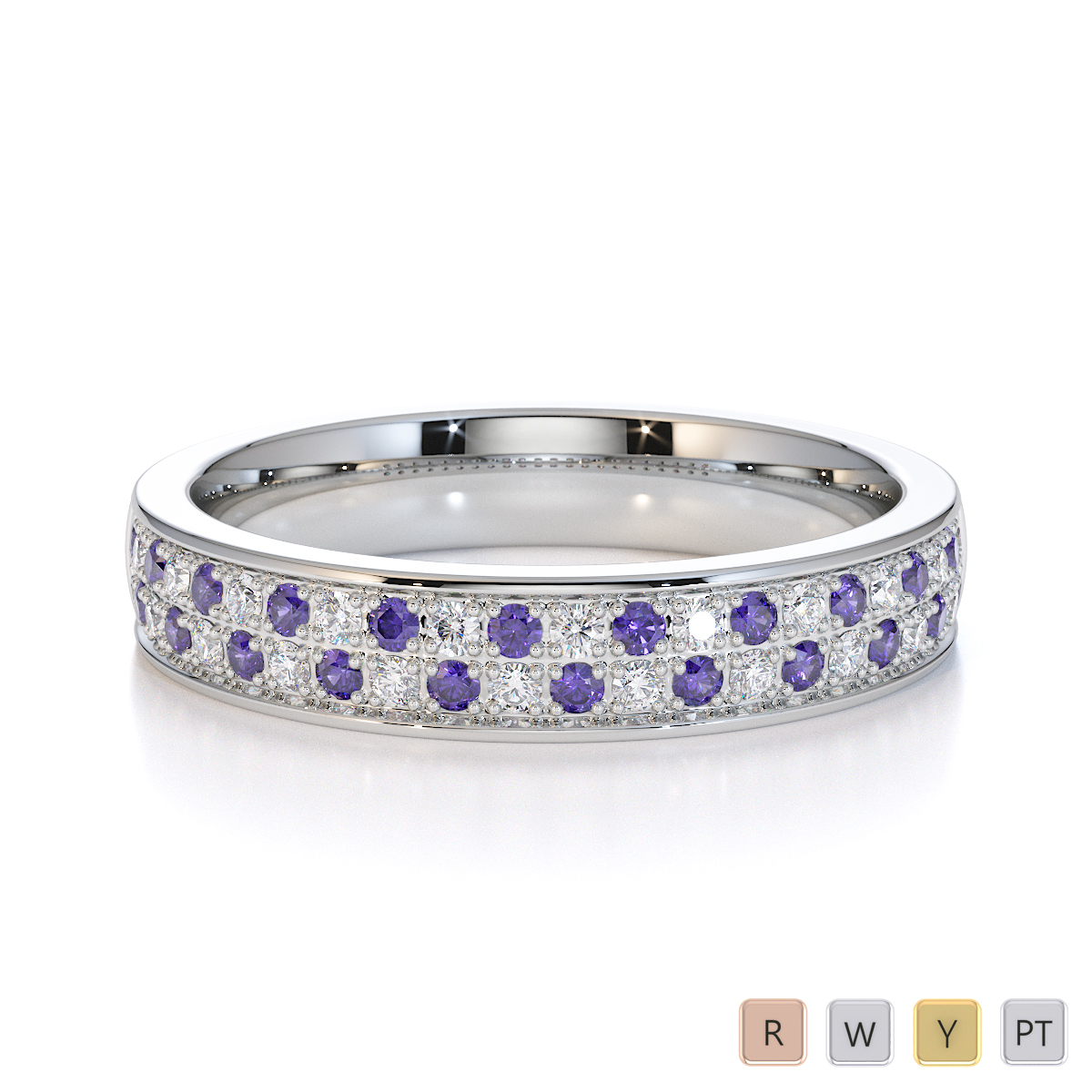 Gold / Platinum Tanzanite and Diamond Half Eternity Ring RZ1507
