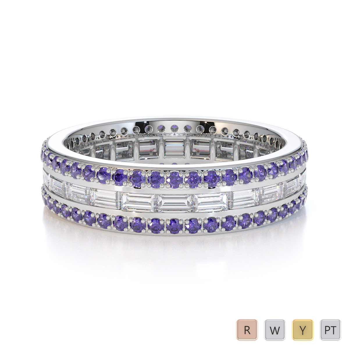 Gold / Platinum Tanzanite and Diamond Full Eternity Ring RZ1508