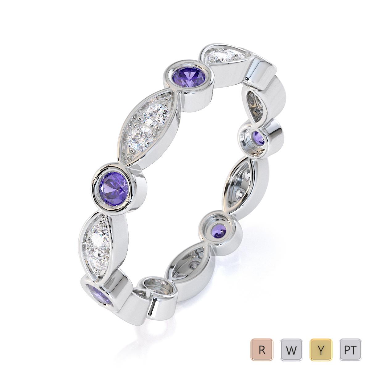 Gold / Platinum Tanzanite and Diamond Full Eternity Ring RZ1510