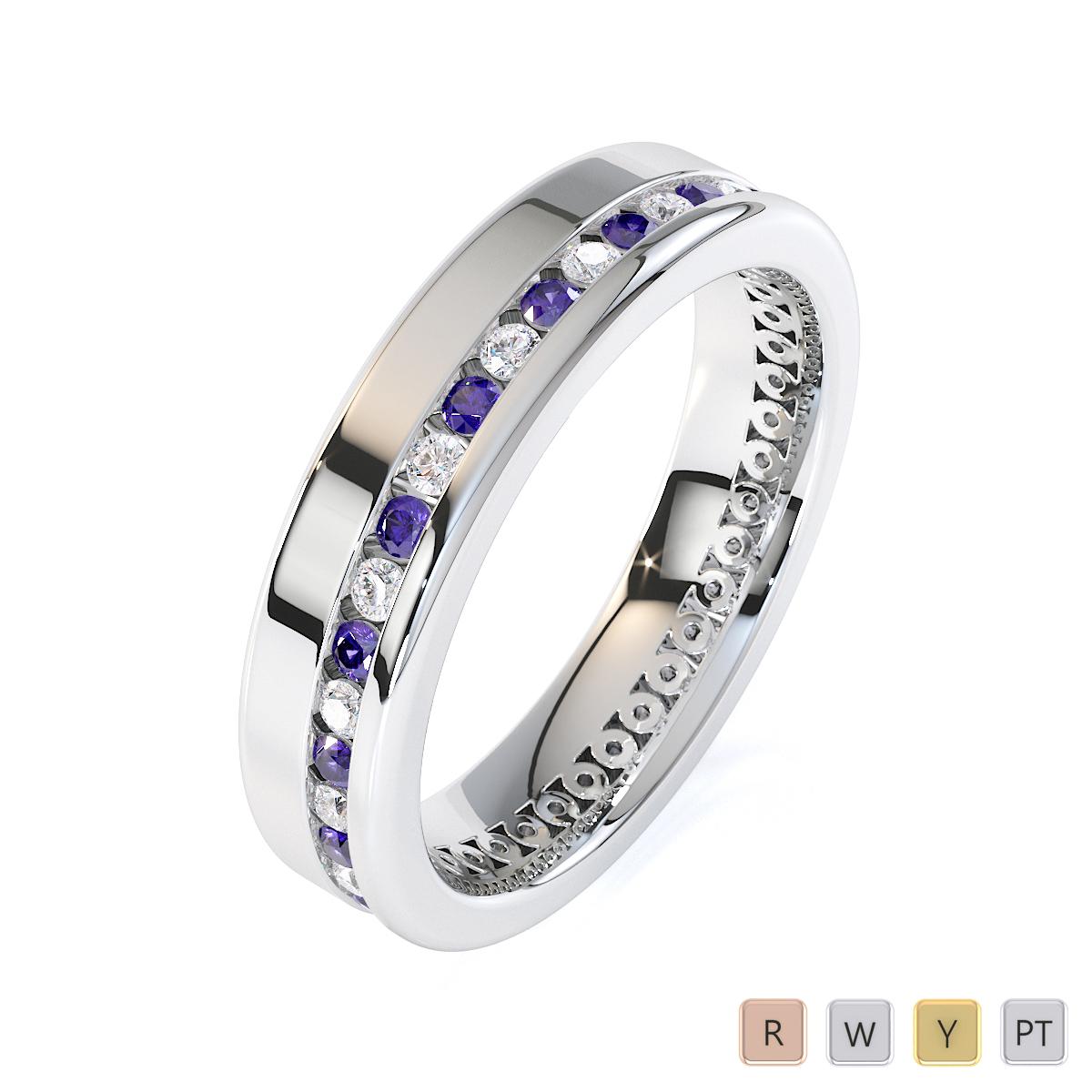 Gold / Platinum Tanzanite and Diamond Full Eternity Ring RZ1514
