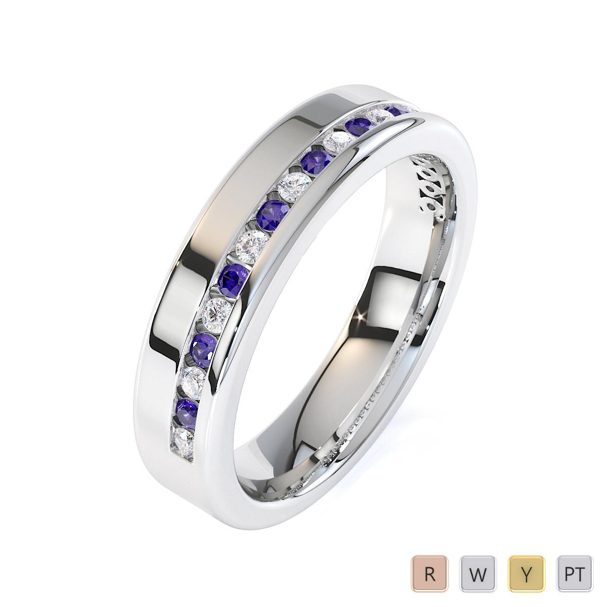 Gold / Platinum Tanzanite and Diamond Half Eternity Ring RZ1515