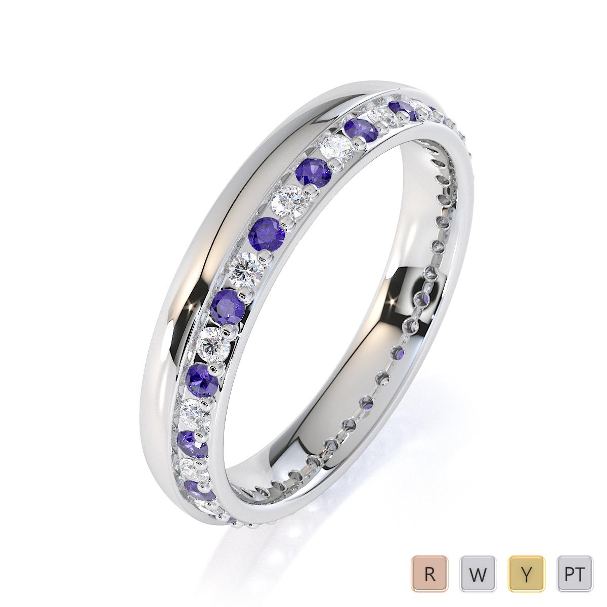 Gold / Platinum Tanzanite and Diamond Full Eternity Ring RZ1516
