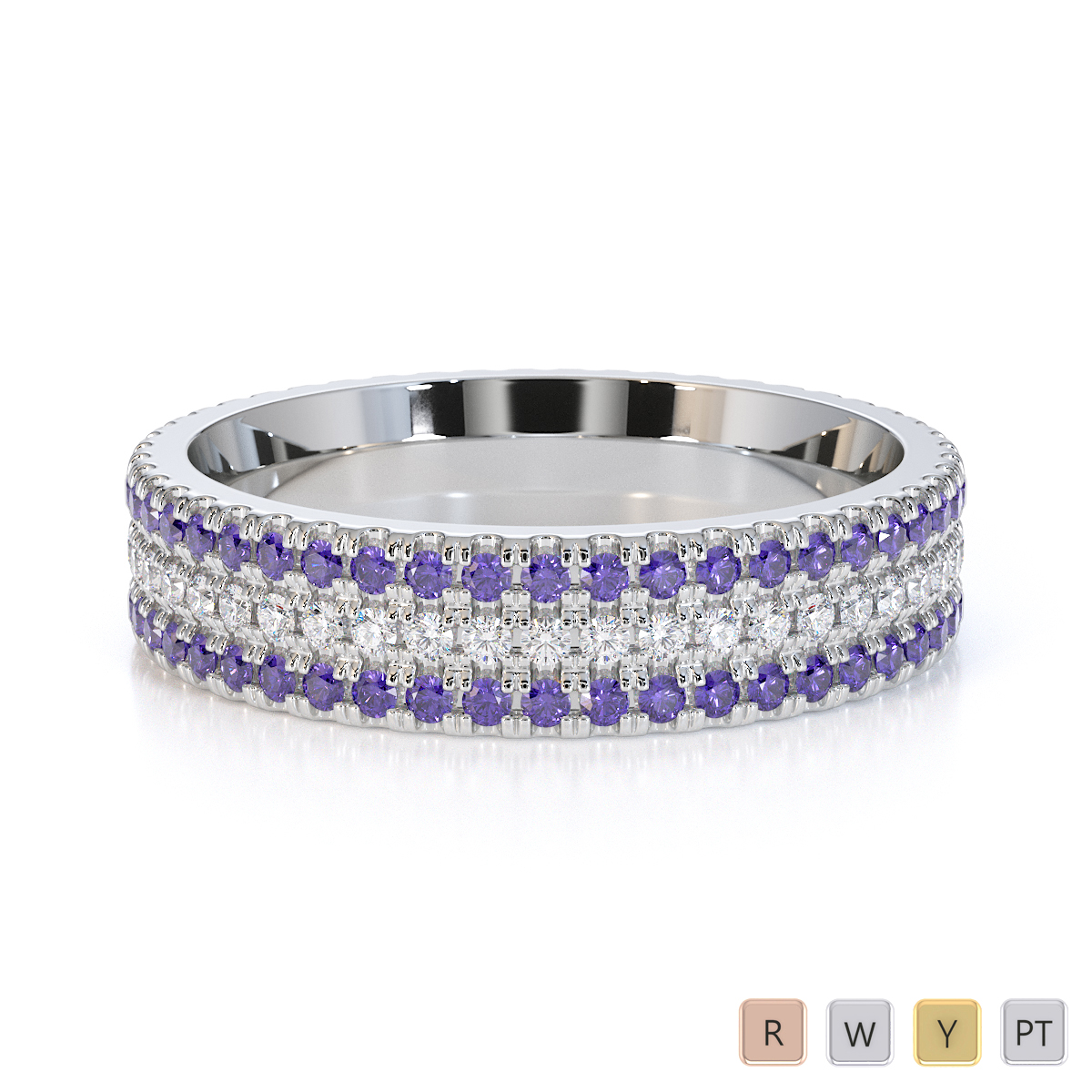 Gold / Platinum Tanzanite and Diamond Full Eternity Ring RZ1518
