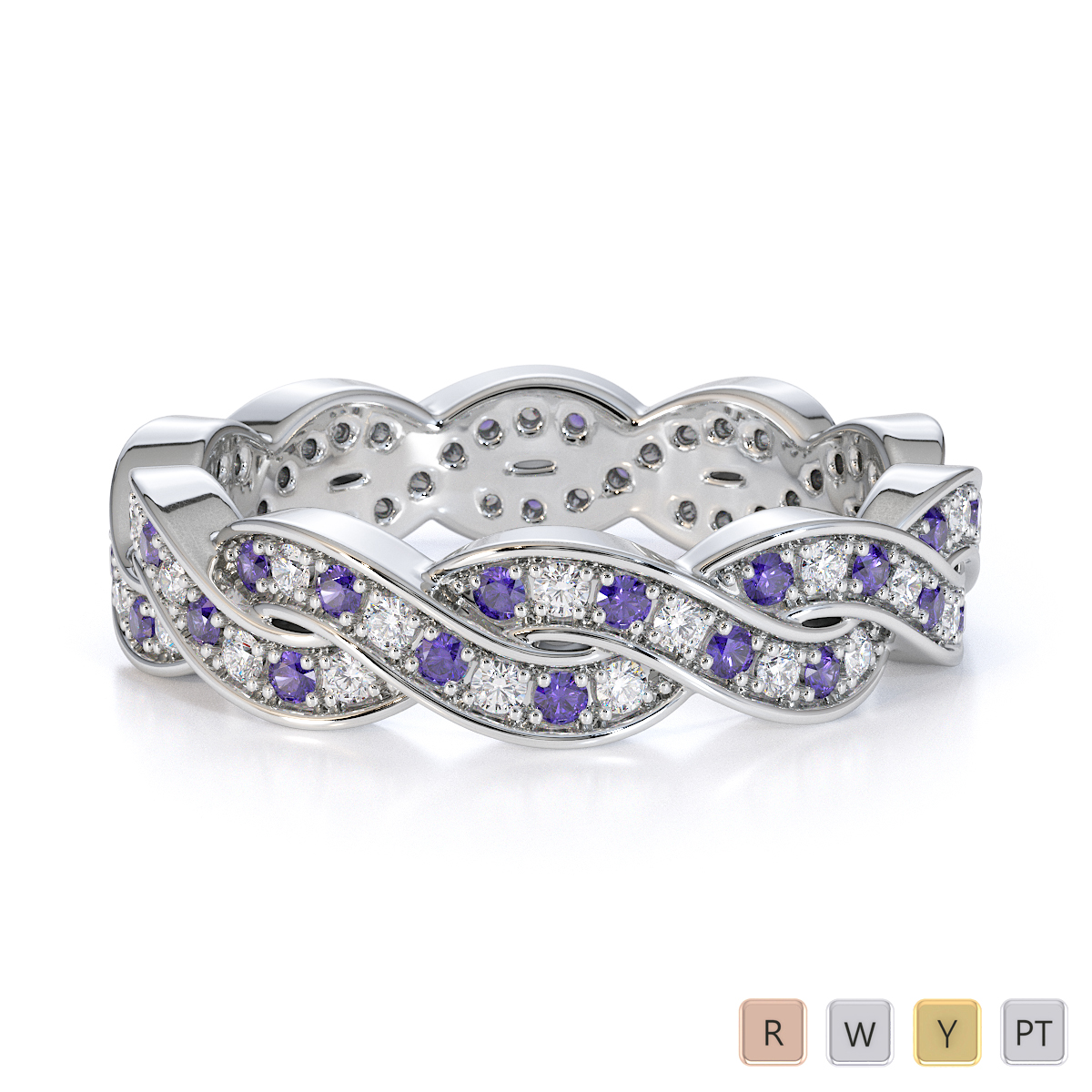 Gold / Platinum Tanzanite and Diamond Full Eternity Ring RZ1520