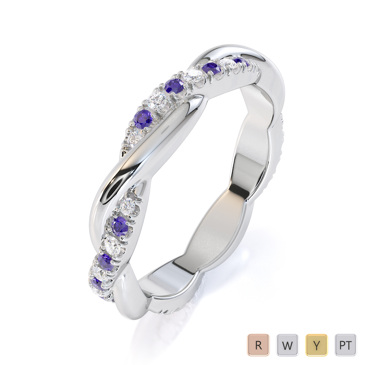 Gold / Platinum Tanzanite and Diamond Full Eternity Ring RZ1522