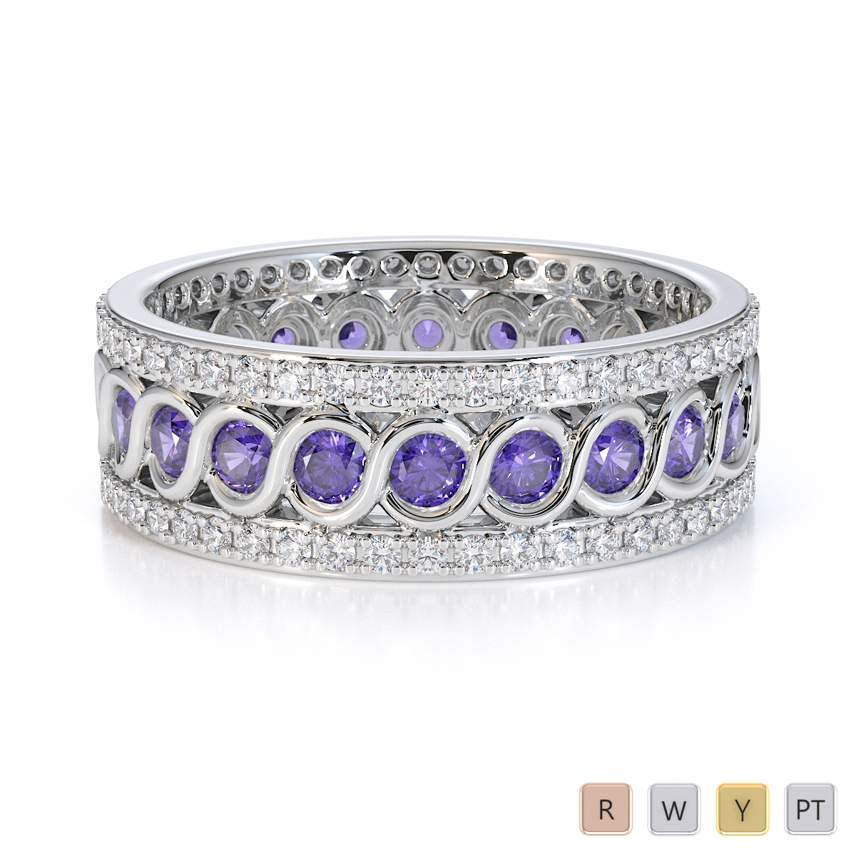 Gold / Platinum Tanzanite and Diamond Full Eternity Ring RZ1524