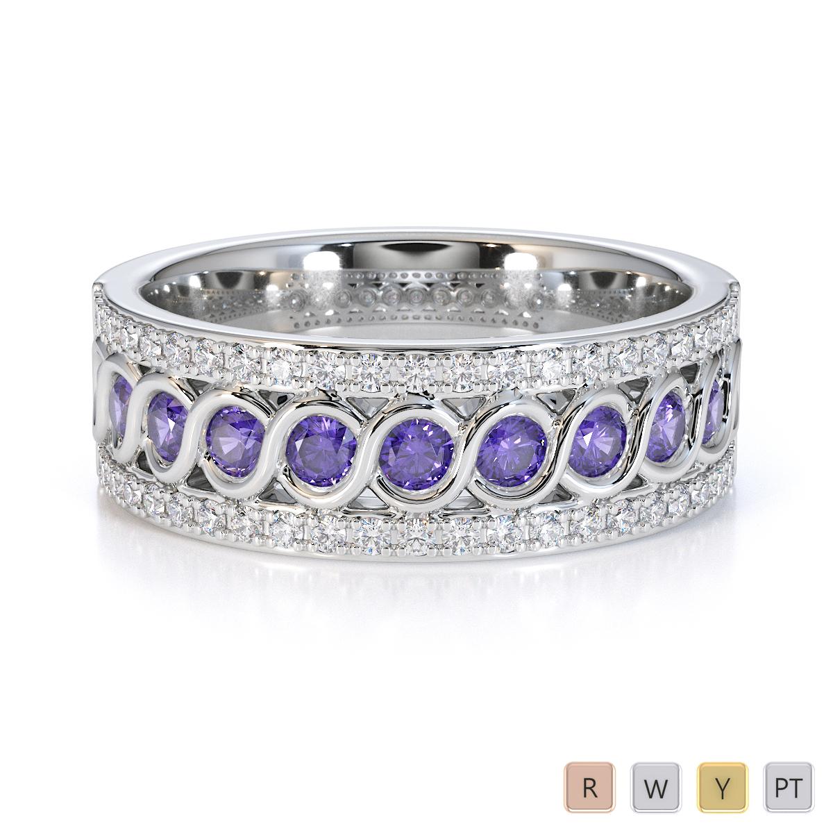 Gold / Platinum Tanzanite and Diamond Half Eternity Ring RZ1525