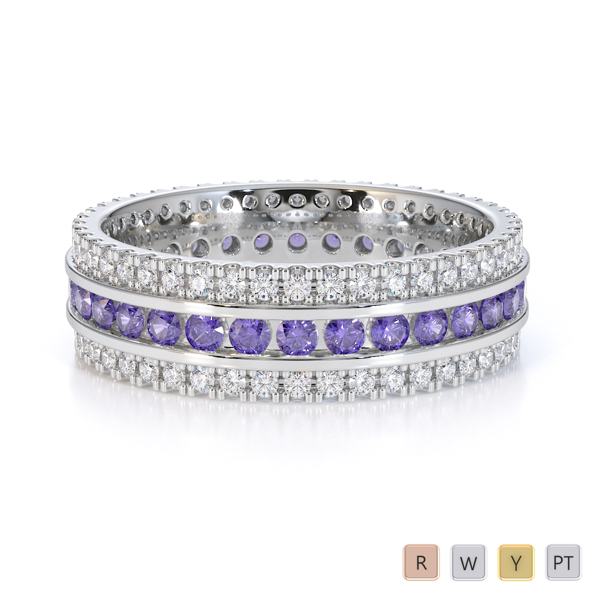 Gold / Platinum Tanzanite and Diamond Full Eternity Ring RZ1526