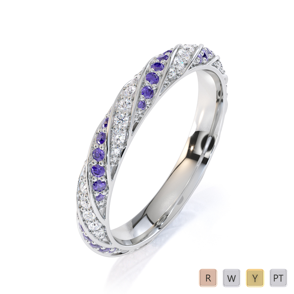Gold / Platinum Tanzanite and Diamond Full Eternity Ring RZ1528