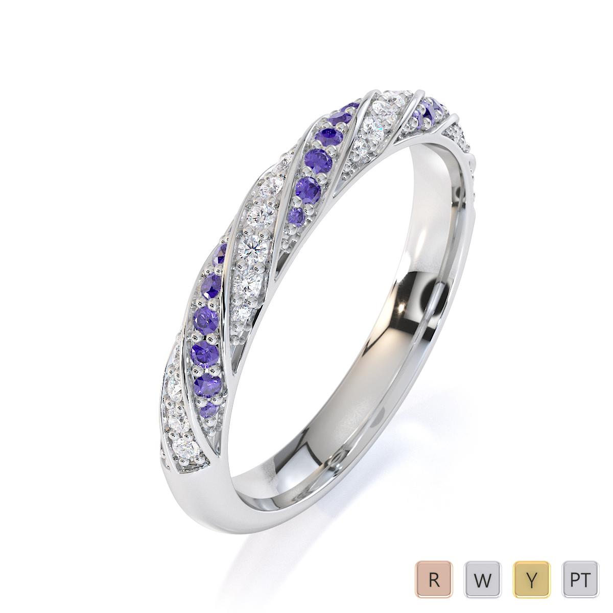 Gold / Platinum Tanzanite and Diamond Half Eternity Ring RZ1529