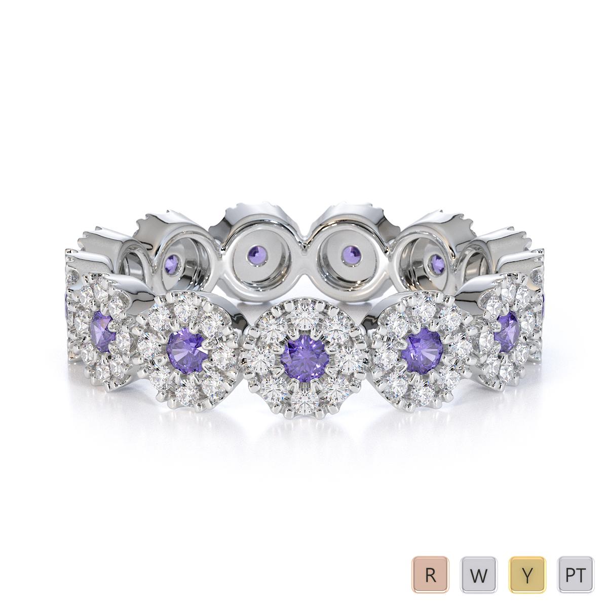 Gold / Platinum Tanzanite and Diamond Full Eternity Ring RZ1530