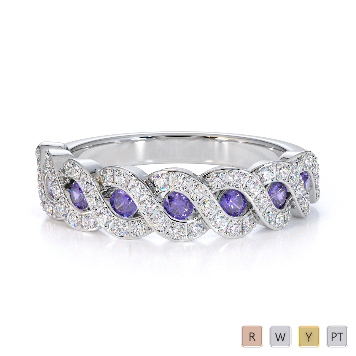 Gold / Platinum Tanzanite and Diamond Half Eternity Ring RZ1533