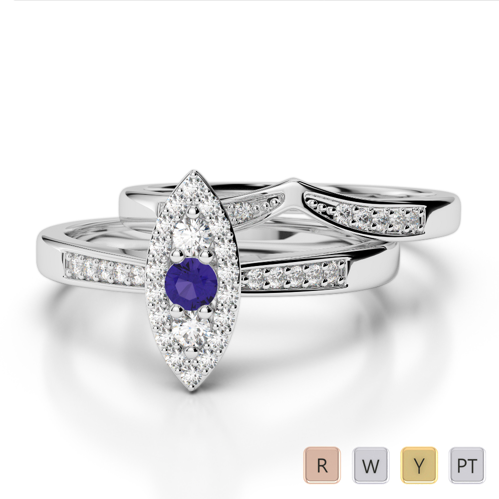 Gold / Platinum Round cut Tanzanite and Diamond Bridal Set Ring AGDR-1050