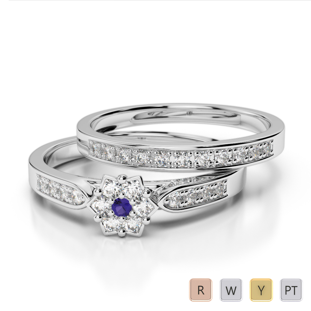 Gold / Platinum Round cut Tanzanite and Diamond Bridal Set Ring AGDR-1051