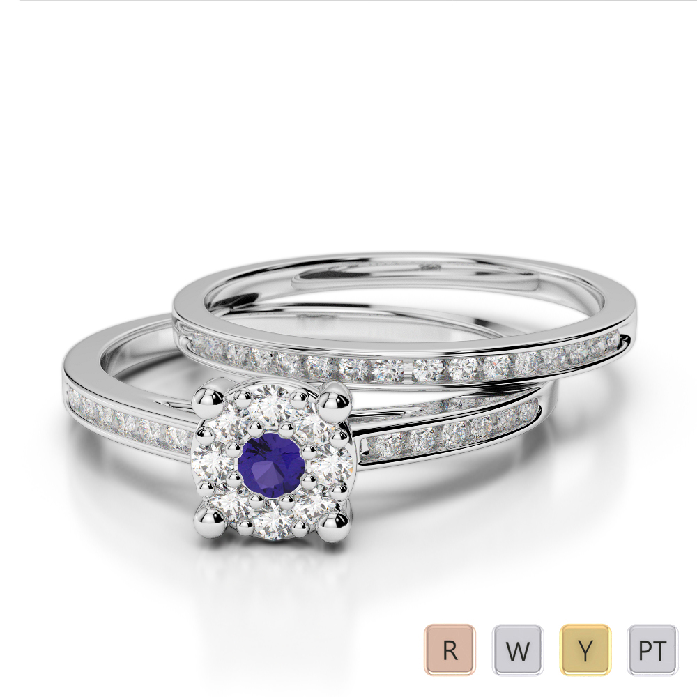 Gold / Platinum Round cut Tanzanite and Diamond Bridal Set Ring AGDR-1052