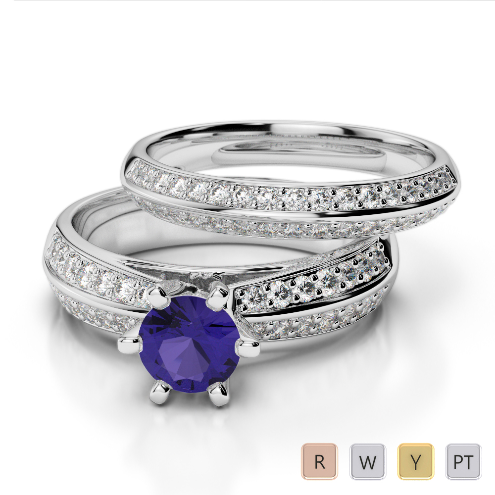 Gold / Platinum Round cut Tanzanite and Diamond Bridal Set Ring AGDR-1147