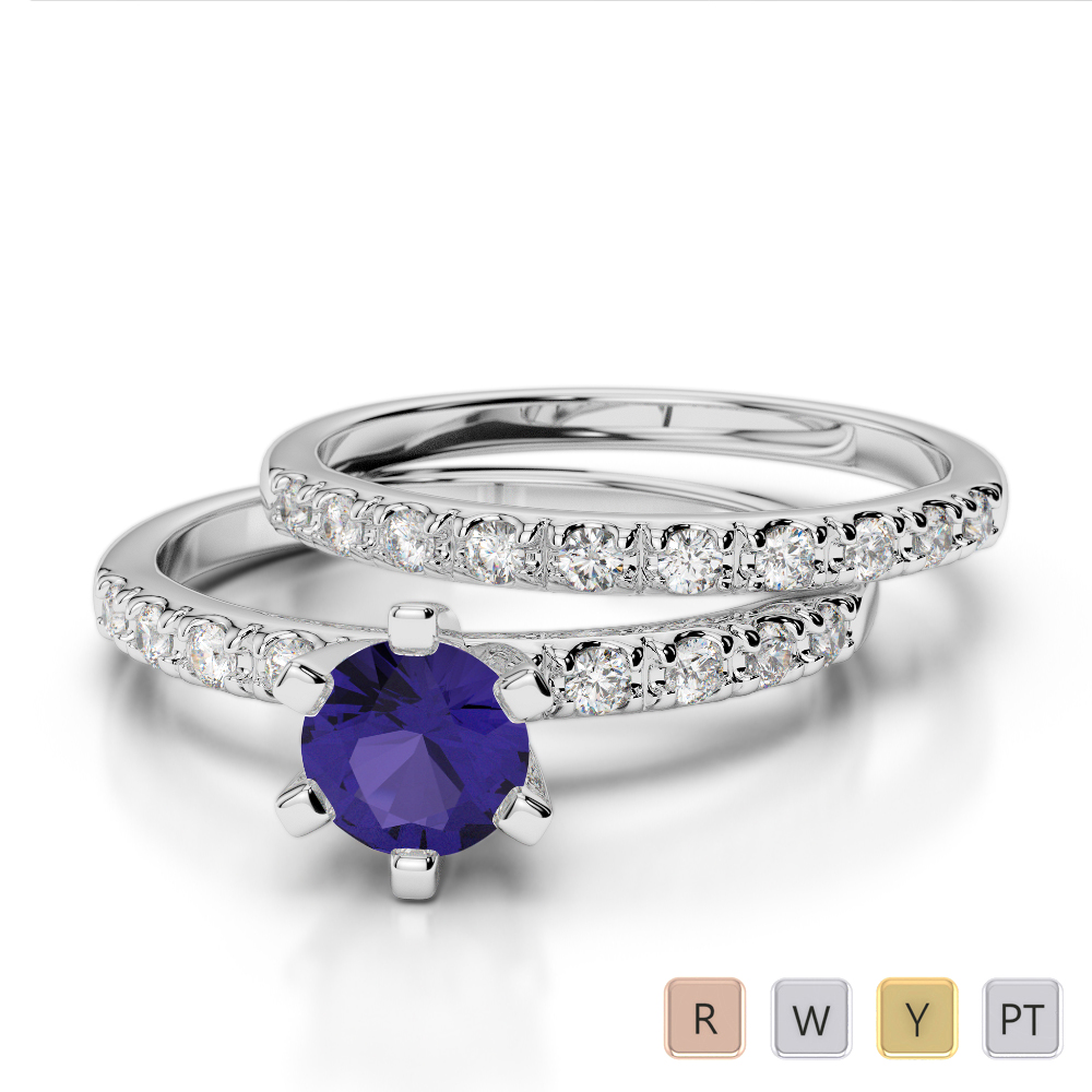 Gold / Platinum Round cut Tanzanite and Diamond Bridal Set Ring AGDR-1149
