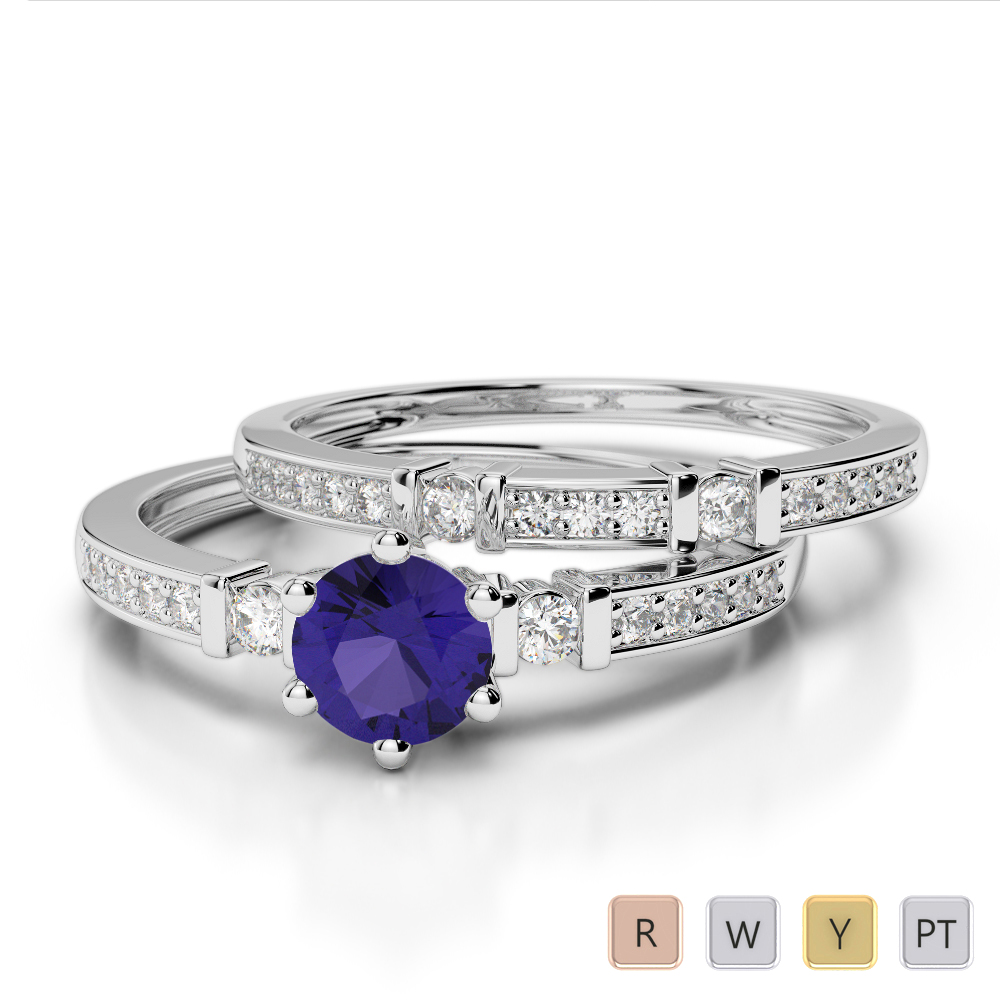 Gold / Platinum Round cut Tanzanite and Diamond Bridal Set Ring AGDR-1150