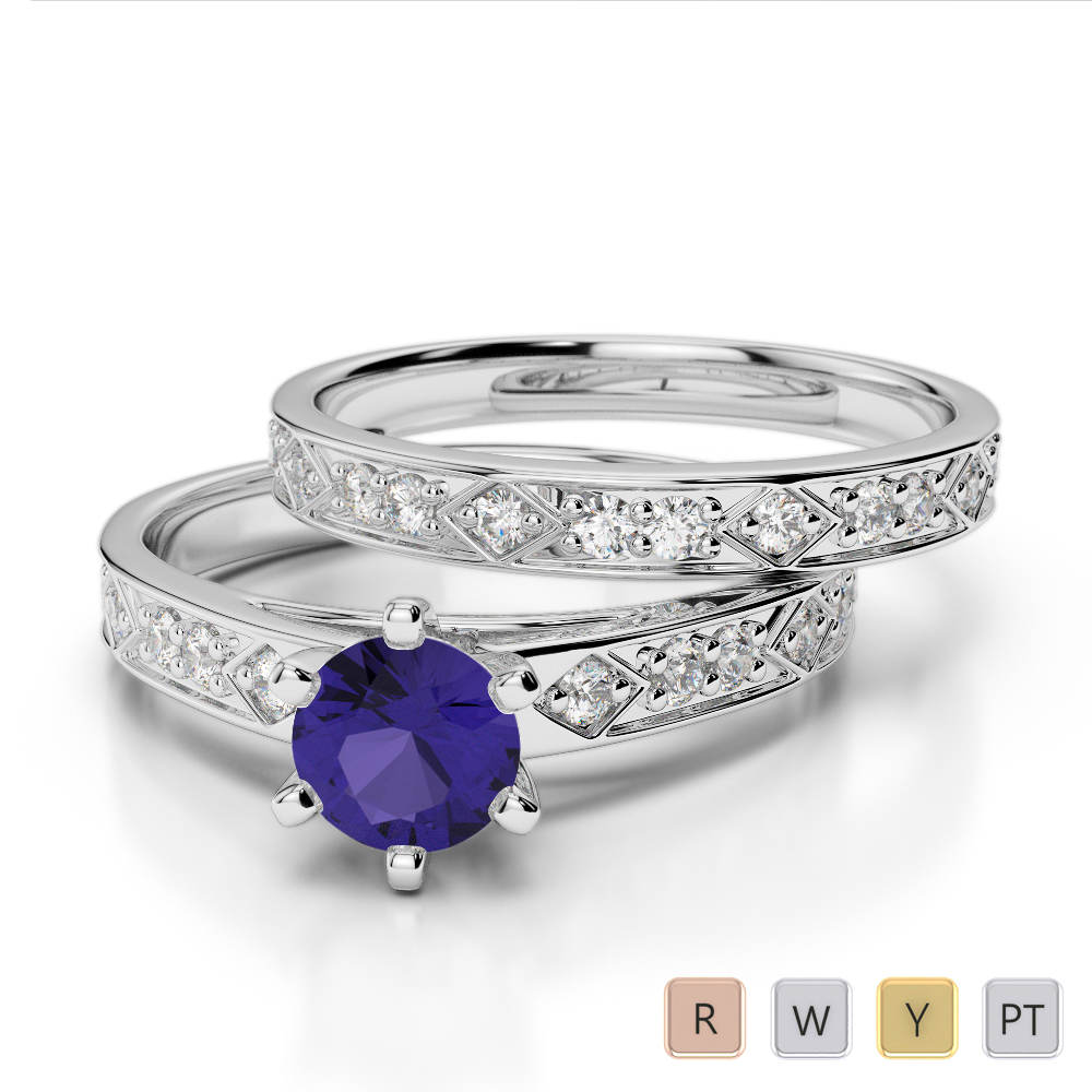 Gold / Platinum Round cut Tanzanite and Diamond Bridal Set Ring AGDR-1151