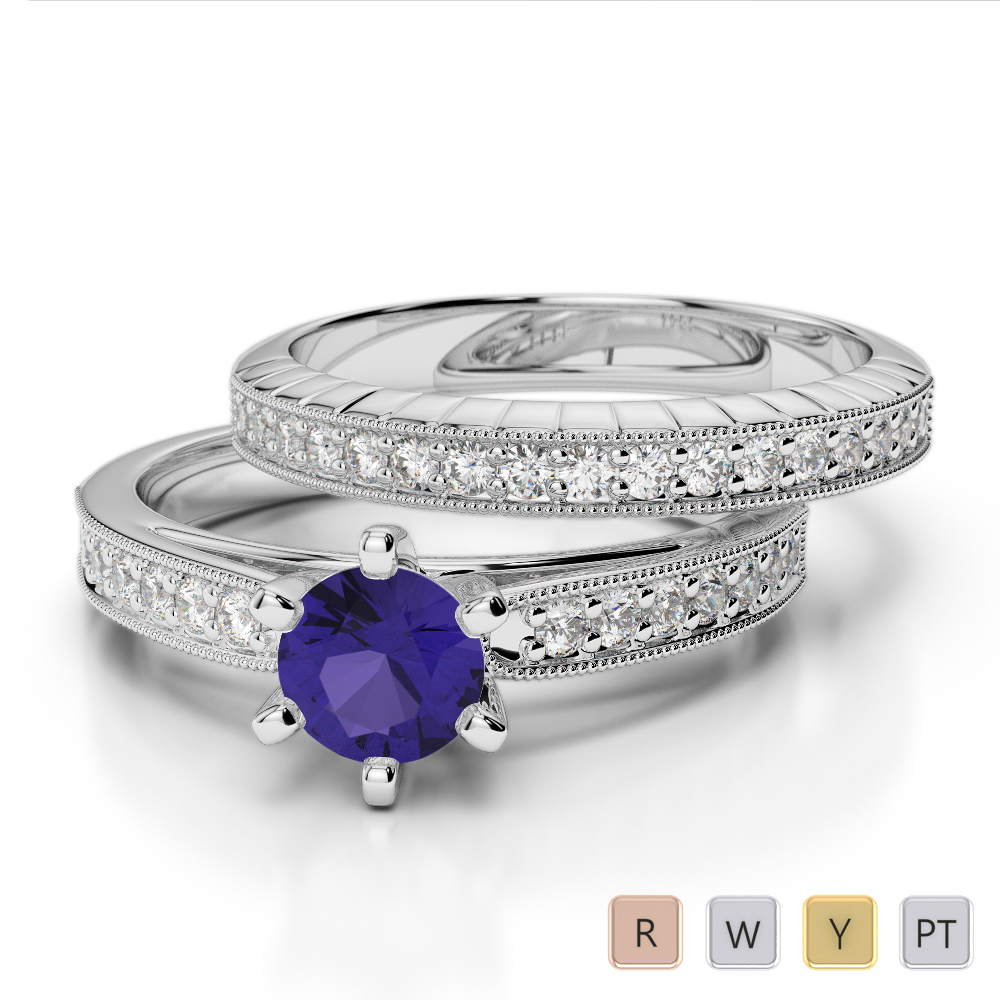 Gold / Platinum Round cut Tanzanite and Diamond Bridal Set Ring AGDR-1154