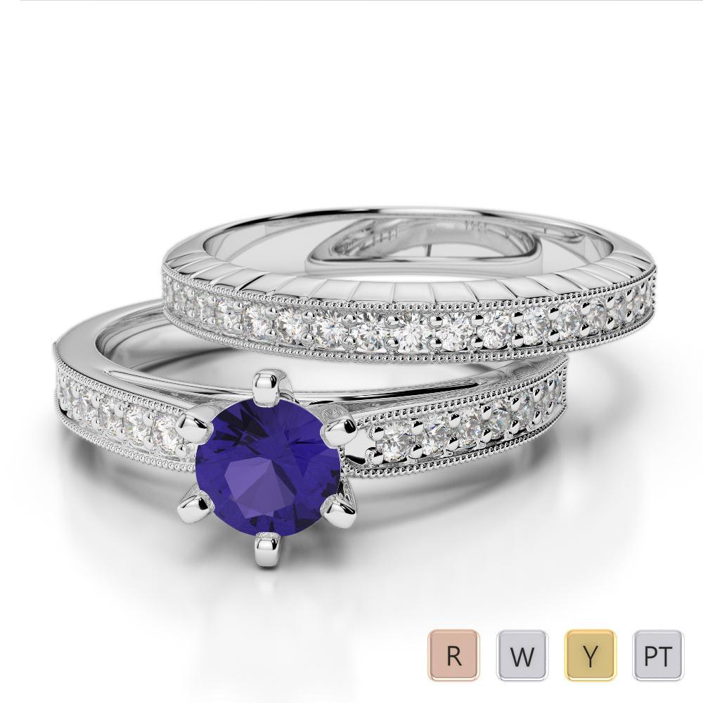 Gold / Platinum Round cut Tanzanite and Diamond Bridal Set Ring AGDR-1154