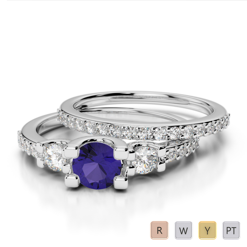 Gold / Platinum Round cut Tanzanite and Diamond Bridal Set Ring AGDR-1155