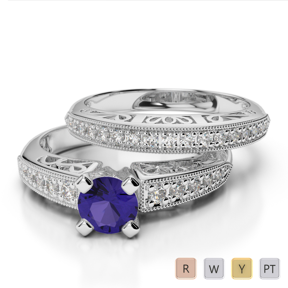 Gold / Platinum Round cut Tanzanite and Diamond Bridal Set Ring AGDR-1160
