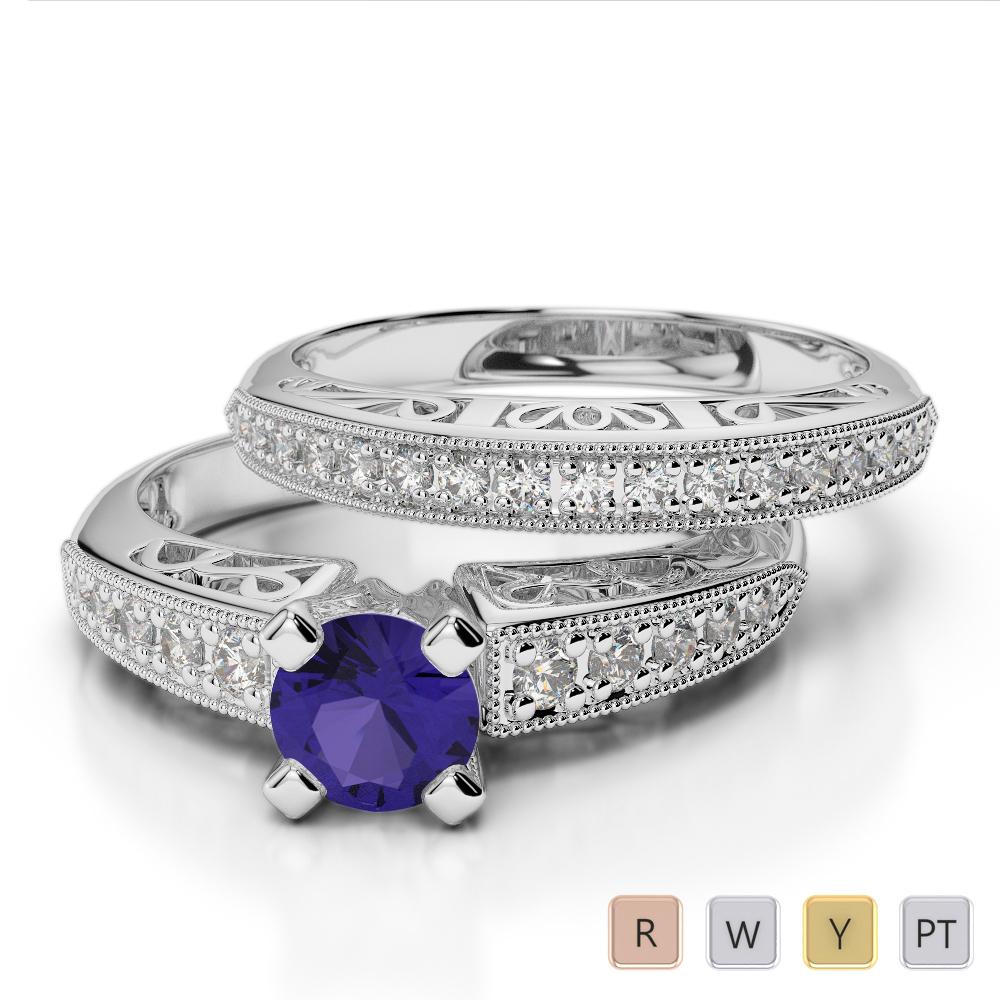 Gold / Platinum Round cut Tanzanite and Diamond Bridal Set Ring AGDR-1160