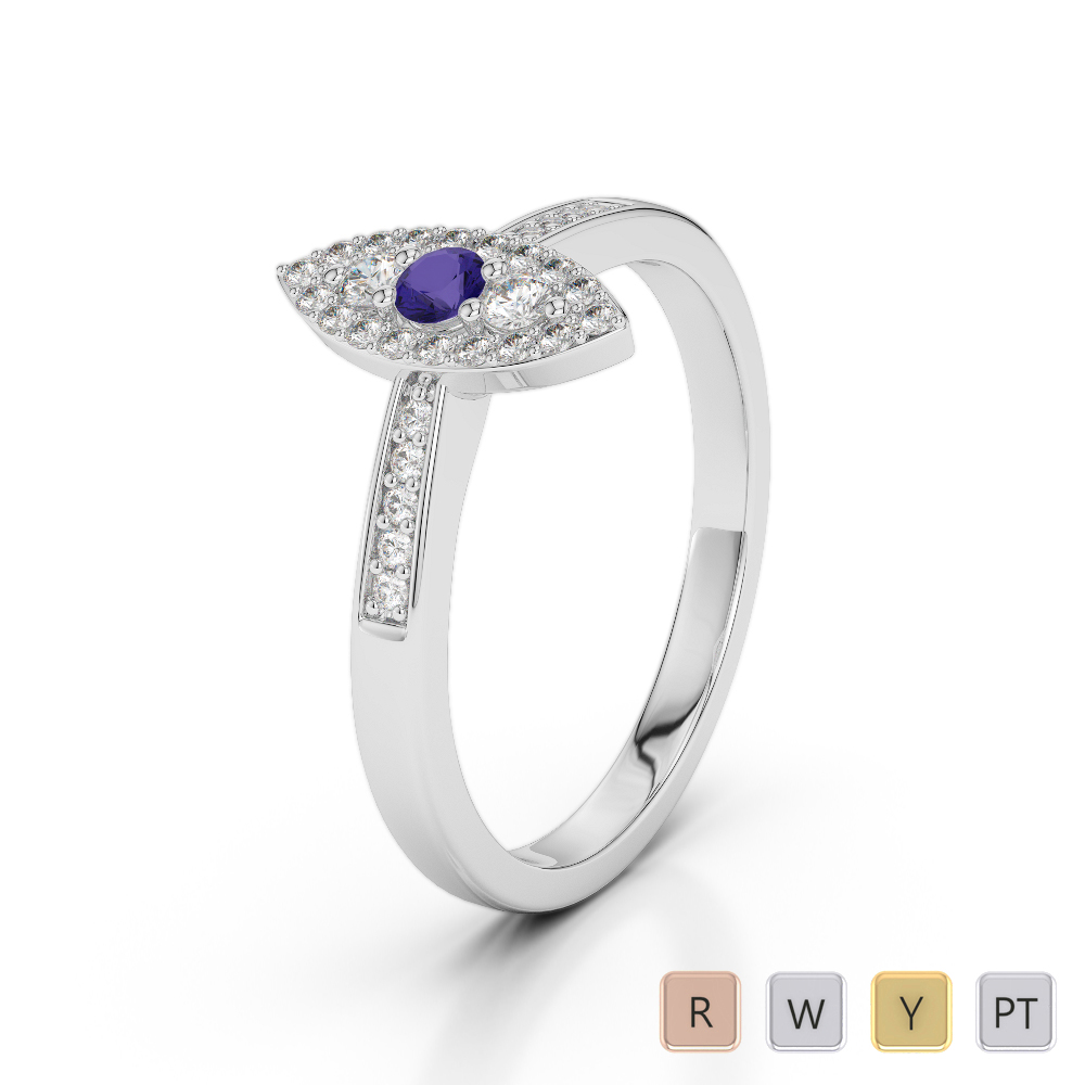 Gold / Platinum Round Cut Tanzanite and Diamond Engagement Ring AGDR-1161
