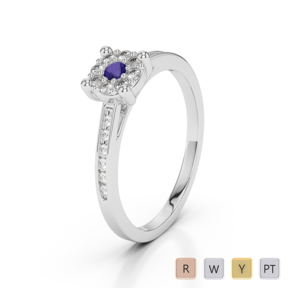 Gold / Platinum Round Cut Tanzanite and Diamond Engagement Ring AGDR-1163