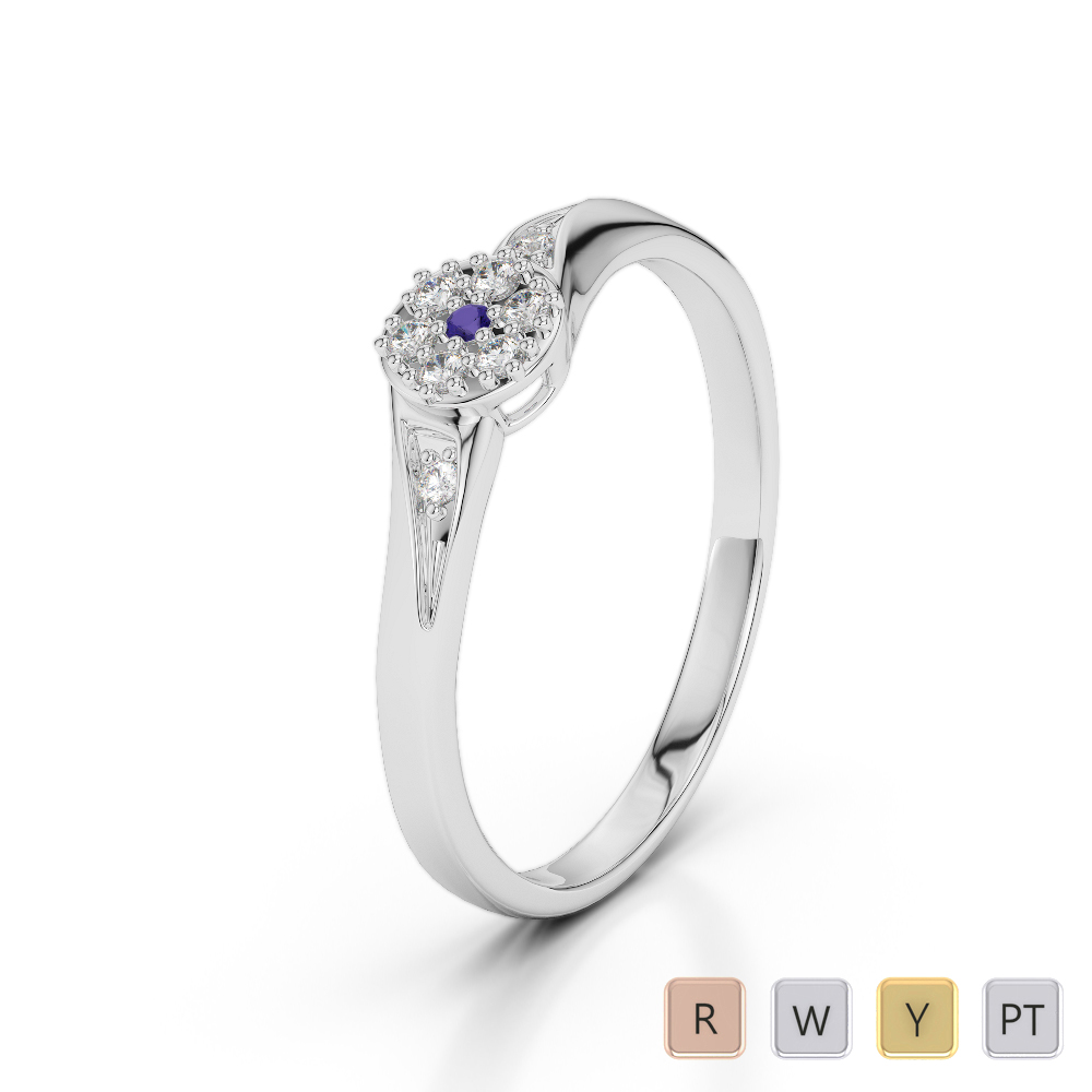 Gold / Platinum Round Cut Tanzanite and Diamond Engagement Ring AGDR-1168