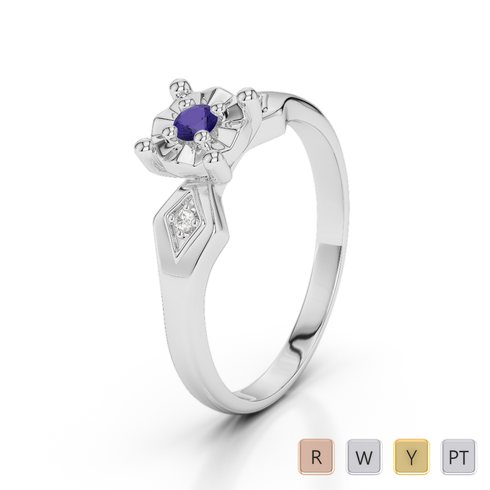 Gold / Platinum Round Cut Tanzanite and Diamond Engagement Ring AGDR-1169