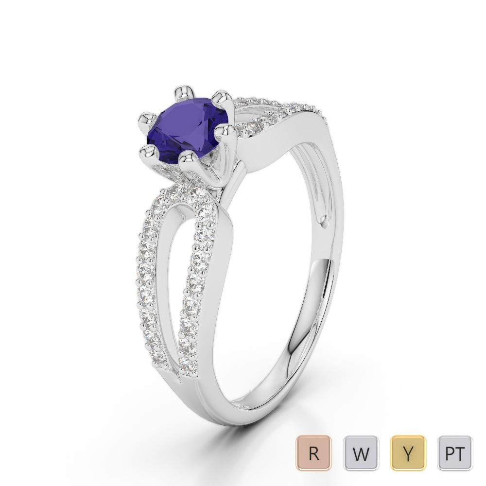 Gold / Platinum Round Cut Tanzanite and Diamond Engagement Ring AGDR-1175