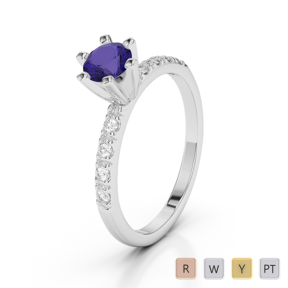 Gold / Platinum Round Cut Tanzanite and Diamond Engagement Ring AGDR-1176